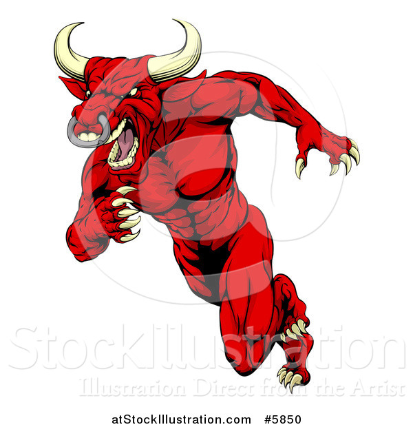 Vector Illustration of an Aggressive Angry Red Bull Man Mascot Running Upright