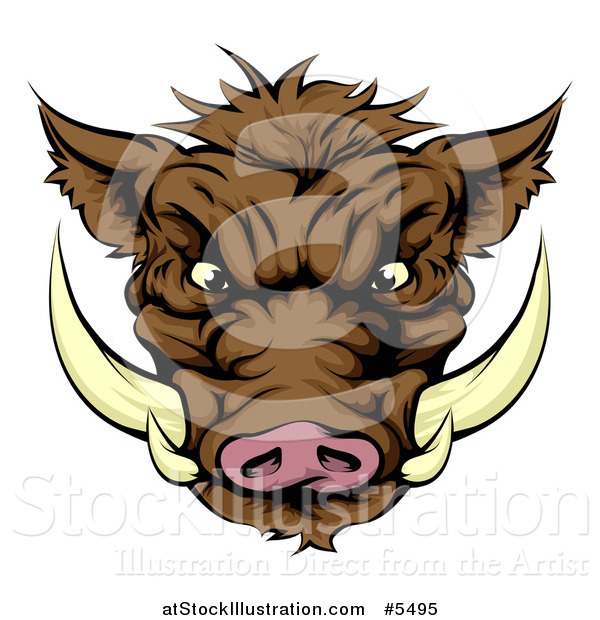 Vector Illustration of an Aggressive Boar Mascot Face