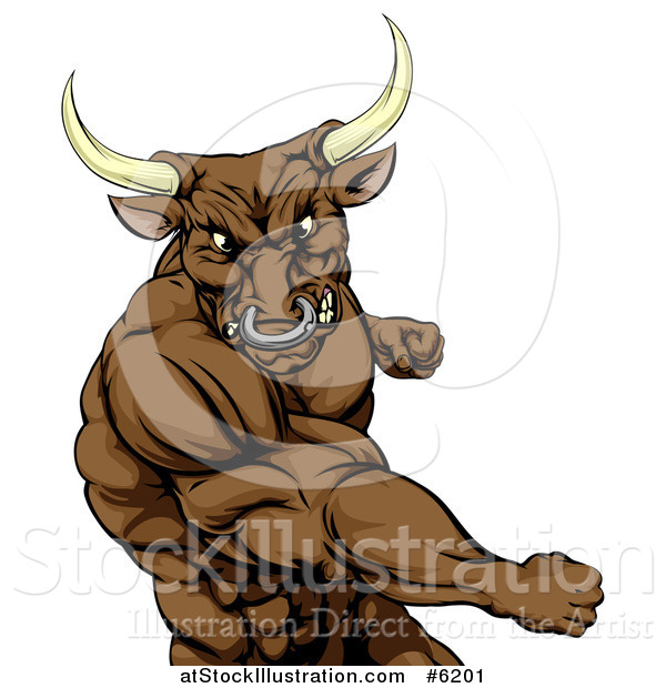 Vector Illustration of an Aggressive Brown Bull or Minotaur Mascot Punching