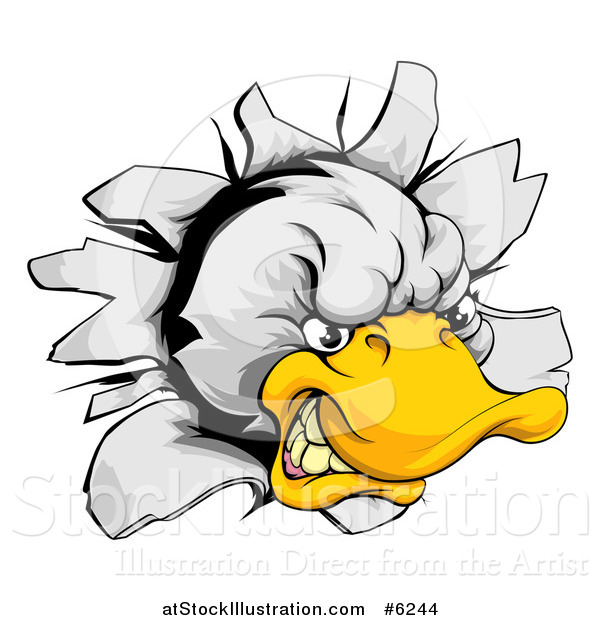 Vector Illustration of an Aggressive Duck Mascot Breaking Through a Wall