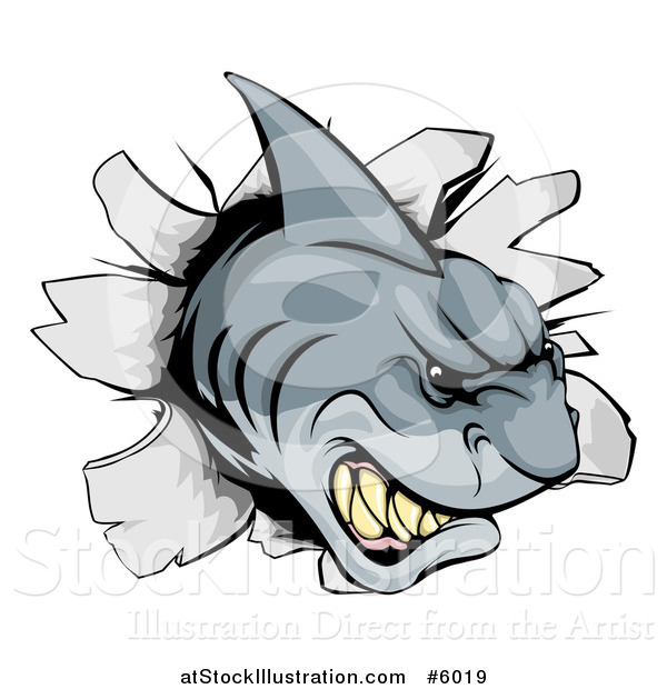 Vector Illustration of an Aggressive Shark Breaking Through a Wall