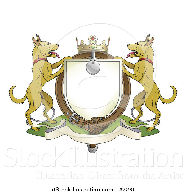 Vector Illustration of an Alsatian Coat of Arms Shield with a Collar