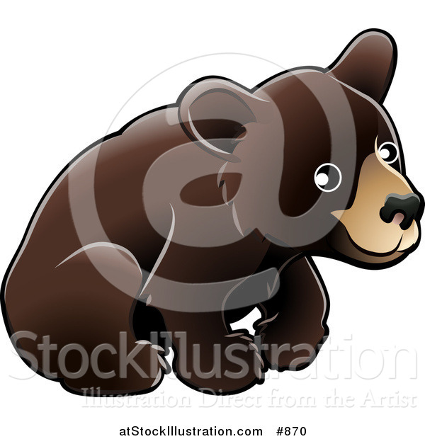 Vector Illustration of an American Black Bear Cub (Ursus Americanus) Sitting over a White Background