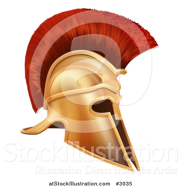 Vector Illustration of an Ancient Bronze Corinthian Spartan Helmet