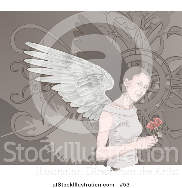 Vector Illustration of an Angelic Woman with Wings, Holding Roses
