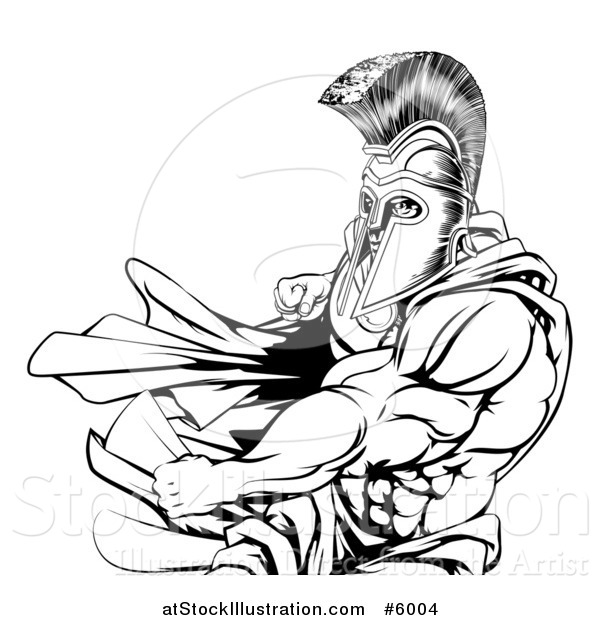 Vector Illustration of an Angry Black and White Strong Spartan Warrior Punching