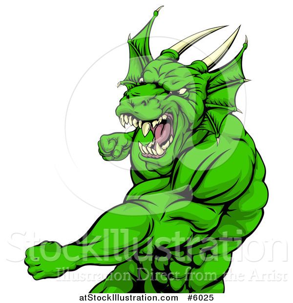 Vector Illustration of an Angry Muscular Green Dragon Man Punching