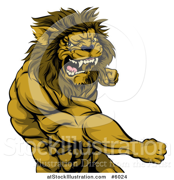 Vector Illustration of an Angry Muscular Lion Man Punching