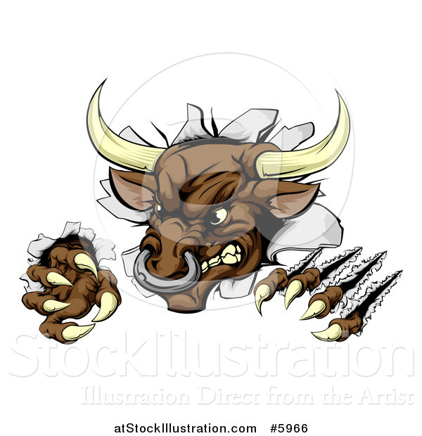 Vector Illustration of an Attacking Aggressive Bull Breaking Through a Wall