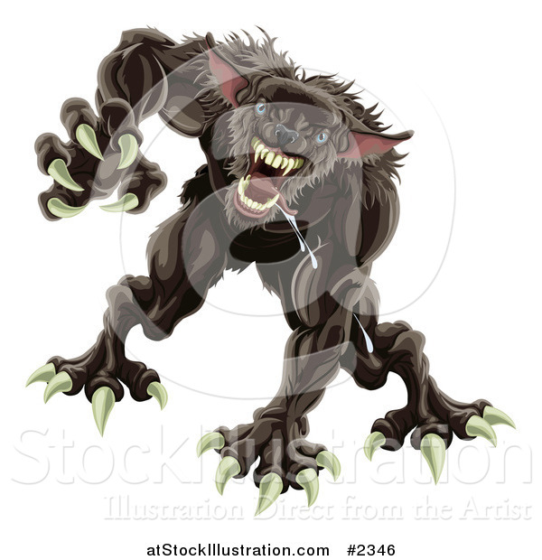 Vector Illustration of an Attacking Werewolf