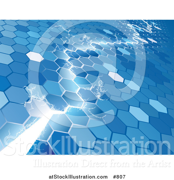 Vector Illustration of an Electrical Lightning Bolt Striking Through a Blue Hexagon Background