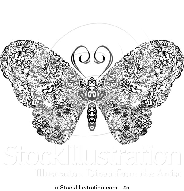 Vector Illustration of an Elegant Butterfly with Swirls on Its Wings
