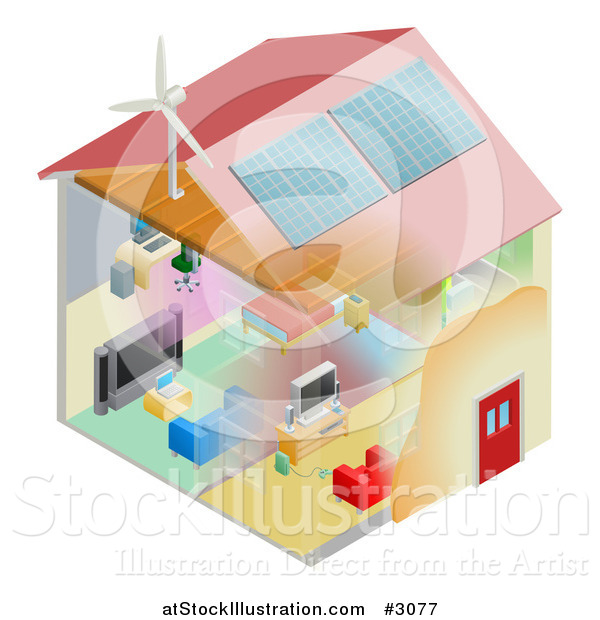 Vector Illustration of an Energy Efficient Home with Insulation Wind Turbine and Solar Panels