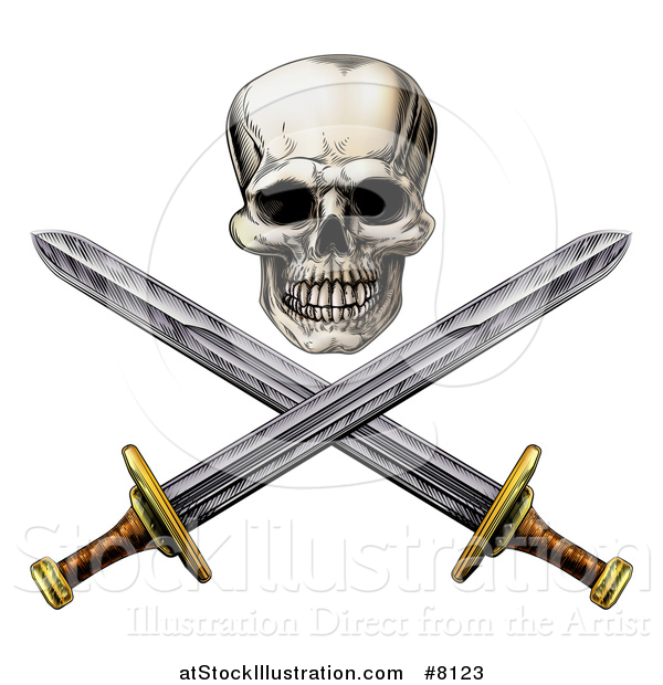 Vector Illustration of an Engraved Pirate Skull Above Crossed Swords