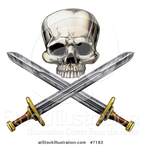 Vector Illustration of an Engraved Pirate Skull and Cross Swords