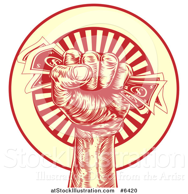 Vector Illustration of an Engraved Revolutionary Fist Holding Money over a Red and Yellow Burst Circle