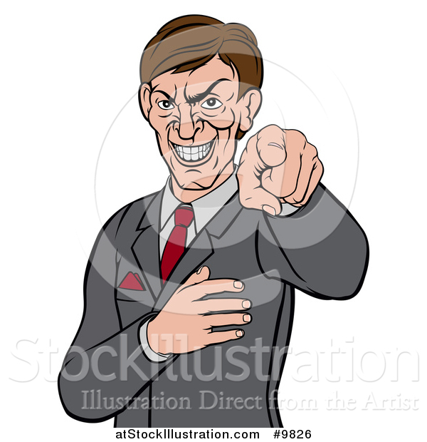 Vector Illustration of an Evil White Business Man Pointing His Finger Outwards