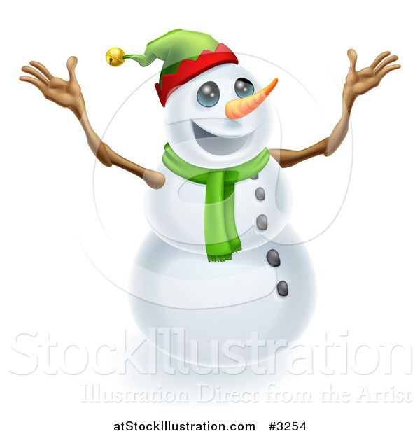 Vector Illustration of an Excited Snowman Wearing a Christmas Elf Hat