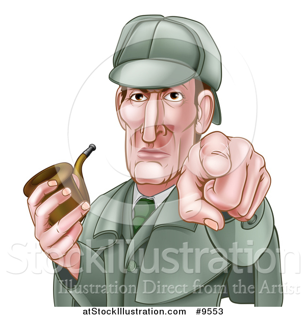 Vector Illustration of an Experienced Detective Posing with a Tobacco Pipe While Pointing His Finger Forward - Cartoon Style