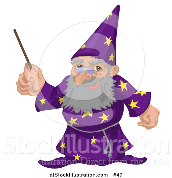 Vector Illustration of an Old Male Warlock Wizard Magician in a Purple Cloak with Star Patterns, Holding a Magic Wand
