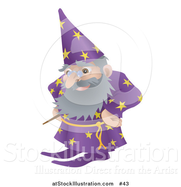 Vector Illustration of an Old Male Wizard with Magic Wand