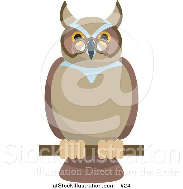Vector Illustration of an Old Wise Owl Wearing Glasses, Perched on a Branch