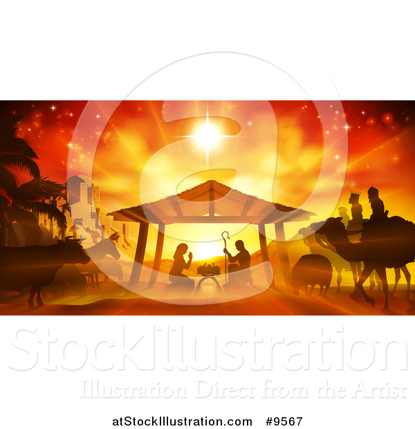 Vector Illustration of an Orange Toned Nativity Scene with Animals, Wise Men, the City of Bethlehem and Star of David