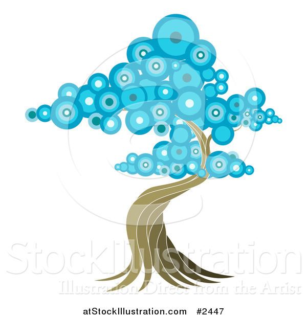 Vector Illustration of an Oriental Tree with Blue Circle Foliage
