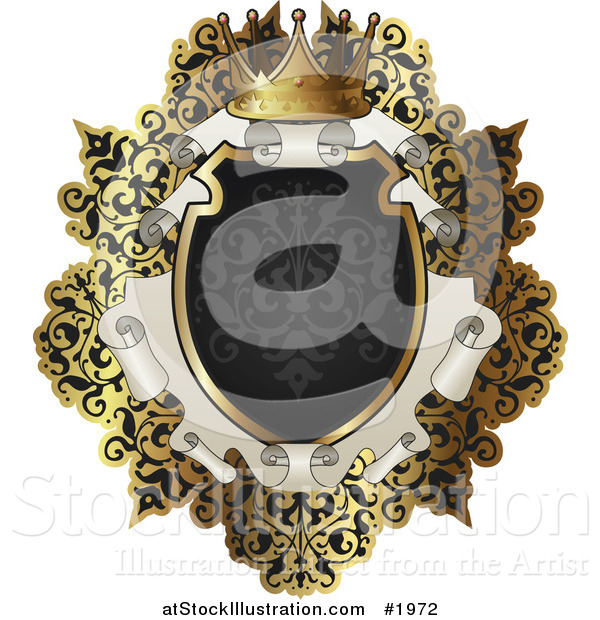 Vector Illustration of an Ornate Black and Gold Scroll Frame with Copyspace