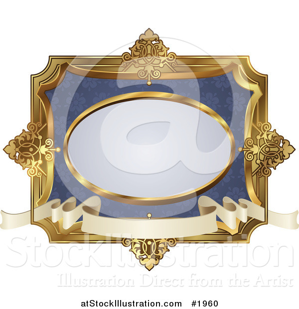 Vector Illustration of an Ornate Blue and Gold Frame with Copyspace
