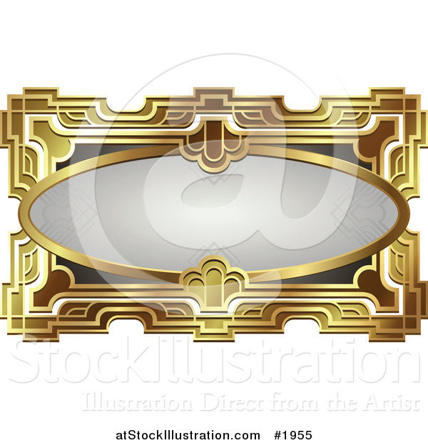 Vector Illustration of an Ornate Gray Oval and Gold Frame with Copyspace