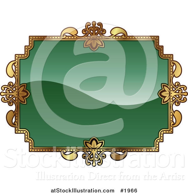 Vector Illustration of an Ornate Green and Gold Frame with Copyspace