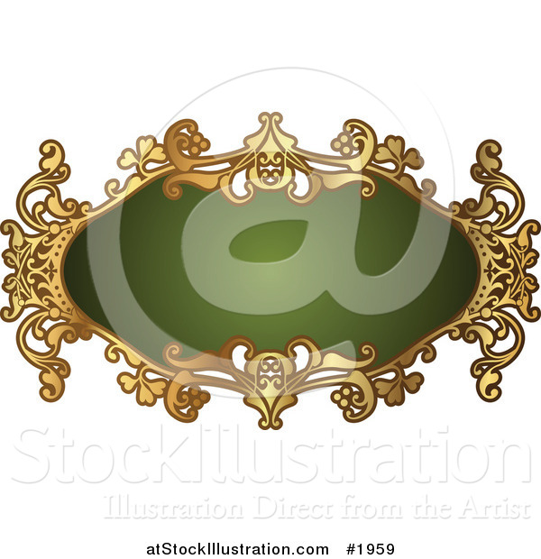 Vector Illustration of an Ornate Oval Green and Gold Frame with Copyspace