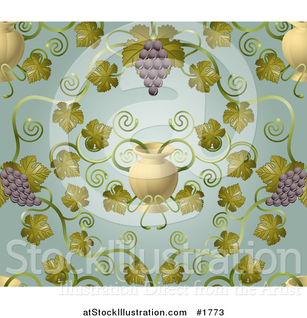 Vector Illustration of an Ornate Purple Grape Vine and Urn Pattern Background