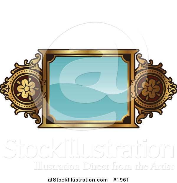 Vector Illustration of an Ornate Turquoise and Gold Frame with Copyspace