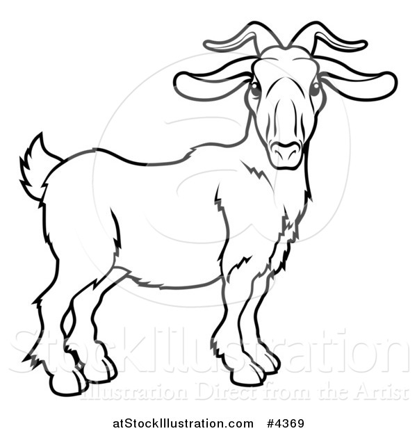 Vector Illustration of an Outlined Chinese Zodiac Goat