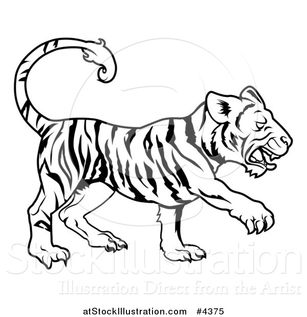 Vector Illustration of an Outlined Chinese Zodiac Tiger