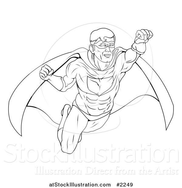 Vector Illustration of an Outlined Super Hero in Flight
