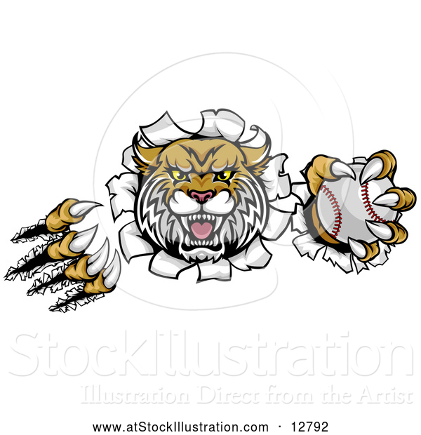 Vector Illustration of an Unstoppable Wildcat Baseball Mascot Ripping Through Paper Wall with a Ball