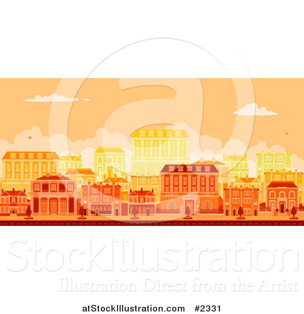 Vector Illustration of an Urban Avenue with Townhouses at Sunset