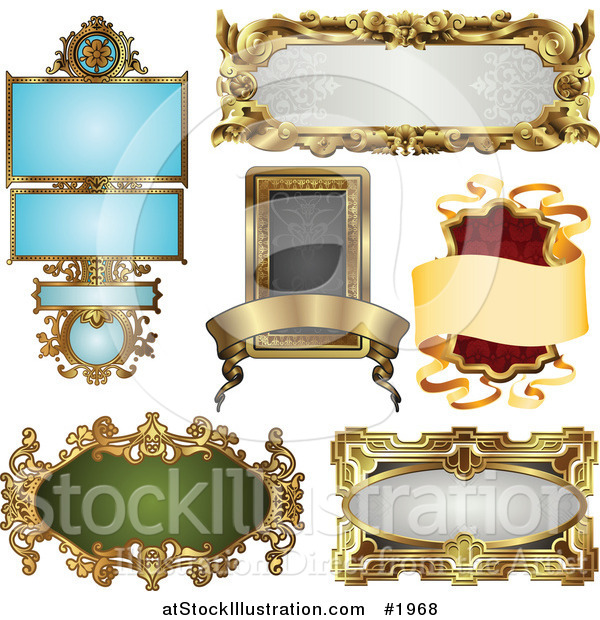 Vector Illustration of Antique and Retro Styled Ornate Frame Designs
