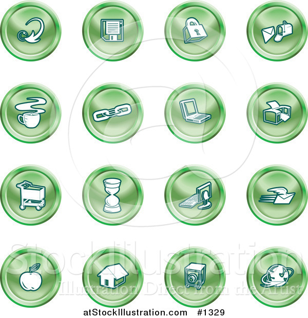 Vector Illustration of Arrow, Floppy Disc, Padlock, Mail, Coffee, Link, Laptop, Printer, Shopping Cart, Hourglass, Computer, Email, Apple, House, Camera and Globe