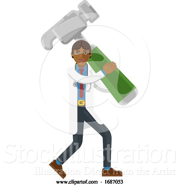 Vector Illustration of Asian Doctor Guy Holding Hammer Mascot Concept