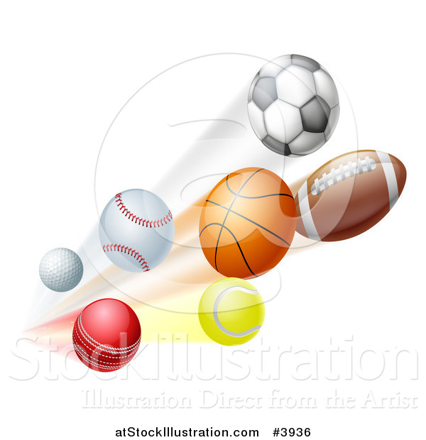 Vector Illustration of Athletic Sports Balls Flying