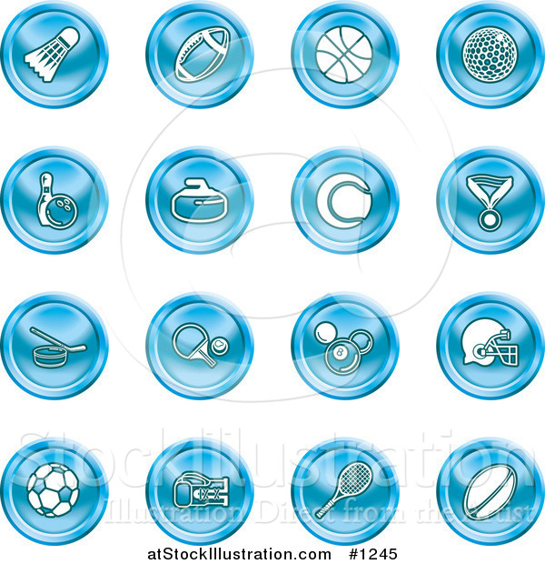 Vector Illustration of Badmitten Shuttlecock, Football, Basketball, Golf Ball, Bowling, Curling Stone, Tennis, Medal, Hockey, Ping Pong, Billiards, Football Helmet, Soccer Ball, Boxing, and Rugby