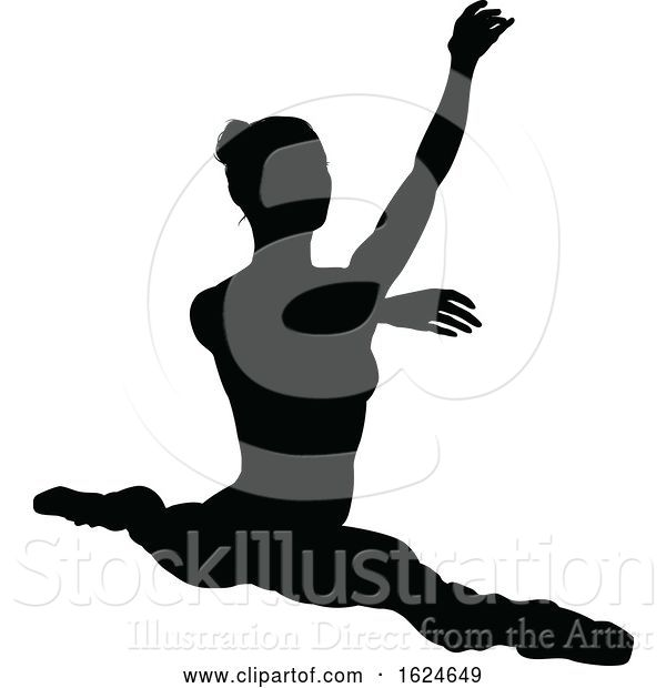 Vector Illustration of Ballet Dancer Dancing Silhouette