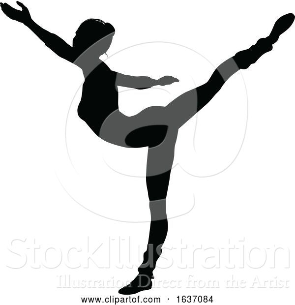Vector Illustration of Ballet Dancing Silhouette