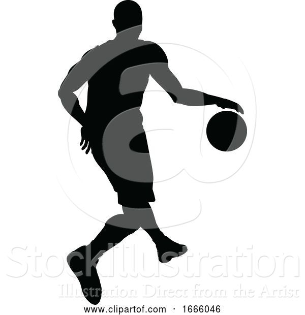 Vector Illustration of Basketballl Player Silhouette