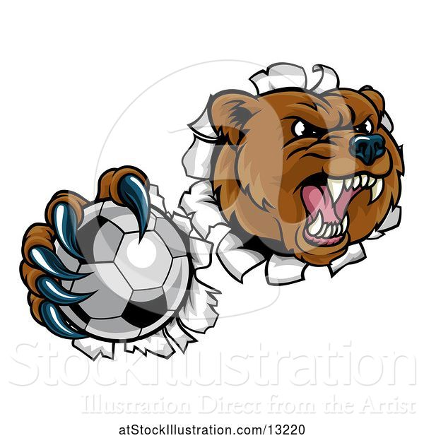 Vector Illustration of Bear Sports Mascot Breaking Through a Wall with a Soccer Ball in a Paw