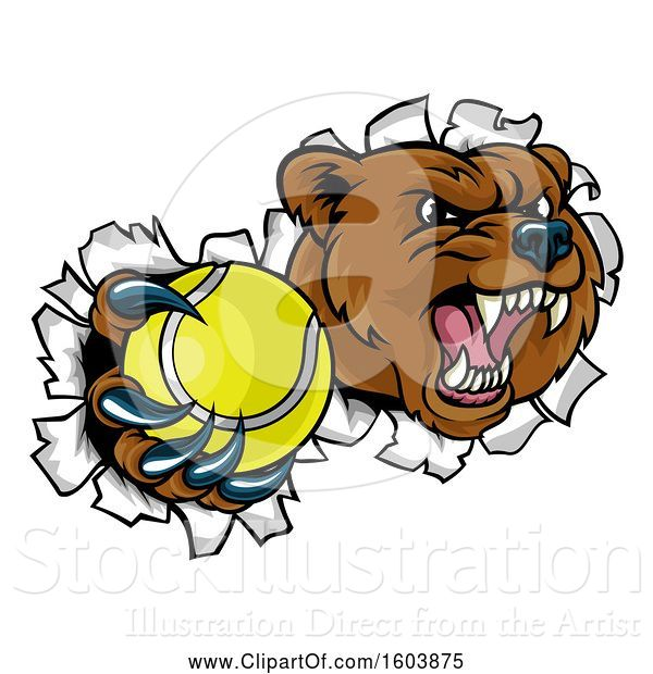 Vector Illustration of Bear Sports Mascot Breaking Through a Wall with a Tennis Ball in a Paw